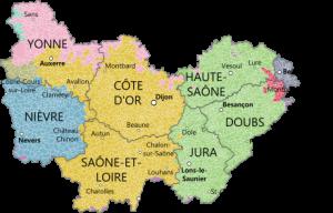 Vakantie in de Bourgogne landkaart